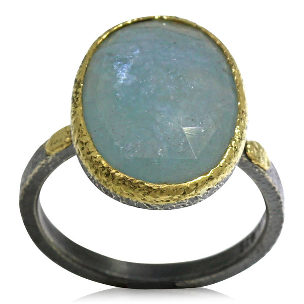 Textured pebbles free form aquamarine ring