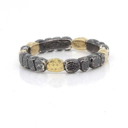 Chunky Pebbles Band in oxidized silver and 18k gold