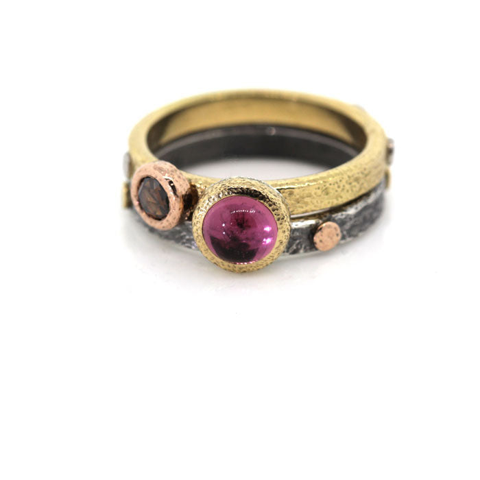 Textured Pebbles Stack Rings with Cognac Diamond and Pink Tourmaline