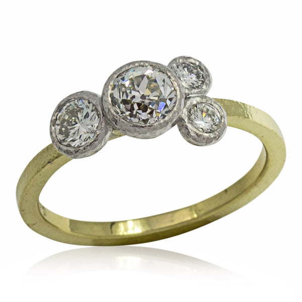 Custom Diamond Ring in palladium and 18k gold-JH