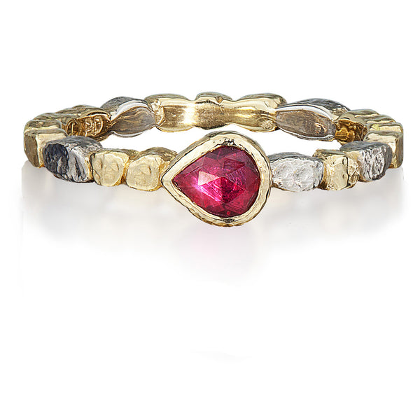 Skinny Pebbles Ring with Pear Shaped Ruby