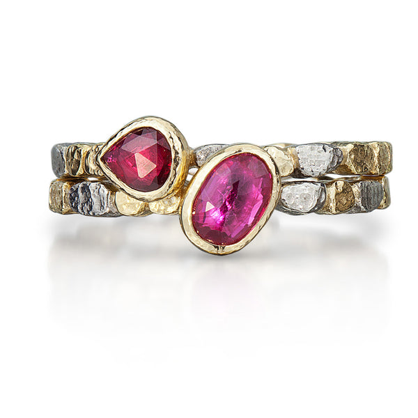 Skinny Pebbles Double Ruby Ring Set