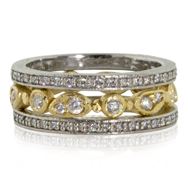 Narrow Eternity Band in Palladium and Diamonds with forever band