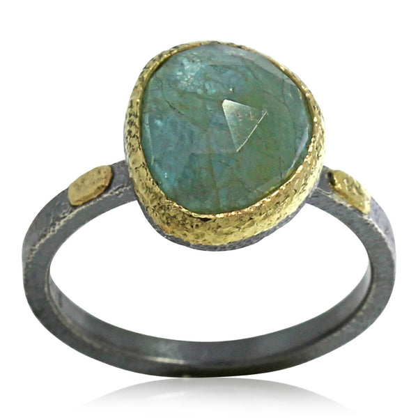 Textured pebbles aquamarine ring