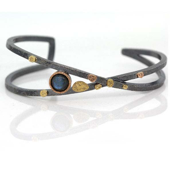 Criss-Cross Cuff Bracelet with Round Labradorite