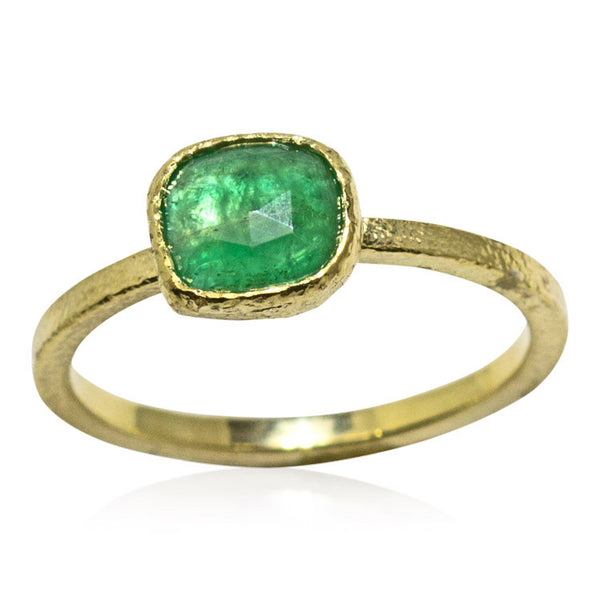 One-of-a-kind free form emerald ring