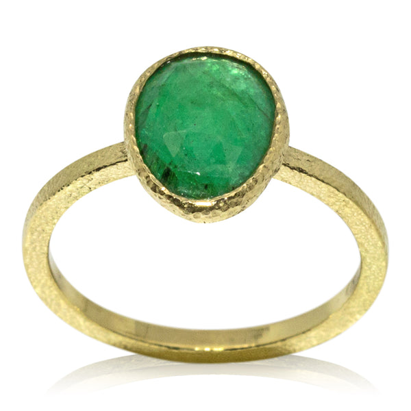 free form emerald ring in 18k gold