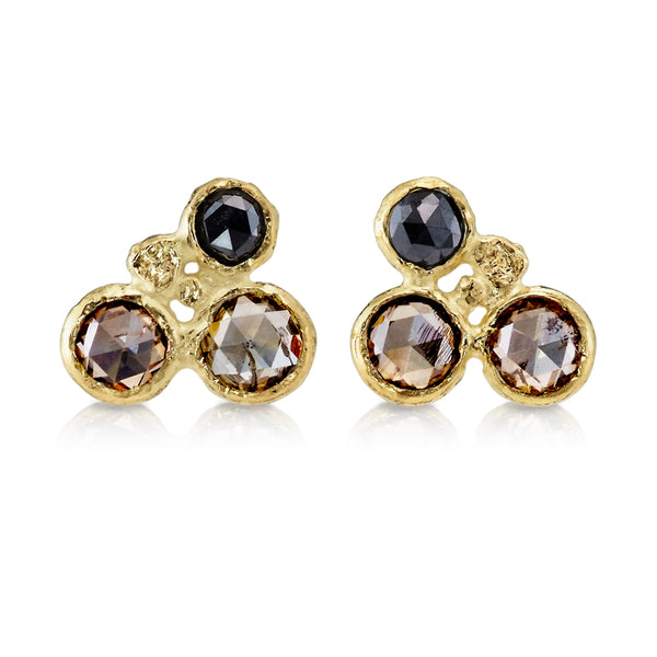 Cognac and Black Diamond Cluster Stud Earrings