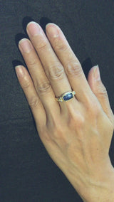 Delicate Double Band Free form Sapphire Ring
