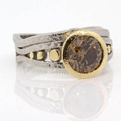 Custom Cognac Diamond Ring with Shadow Band