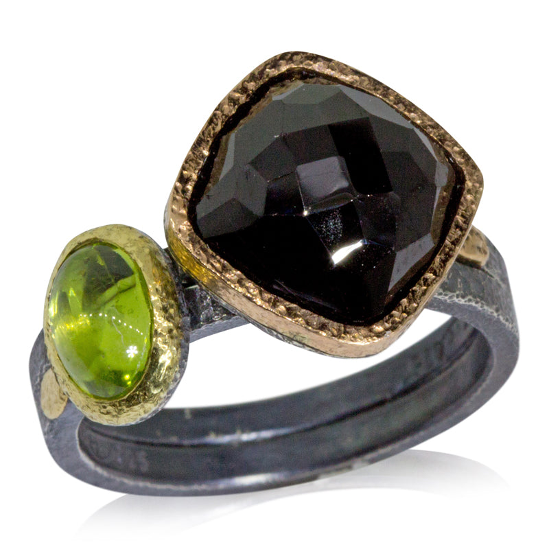 oval peridot Black Spinel Stacking Rings