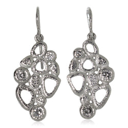 Cascading Open Pebbles Earrings in palladium