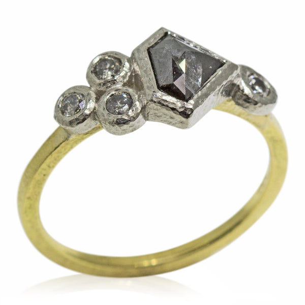 Dark grey geo-cut diamond ring with salt and pepper diamond