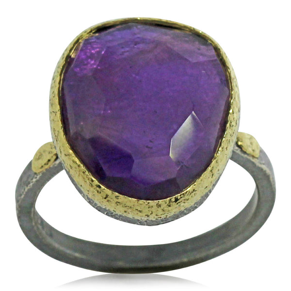 Free form amethyst textured pebbles ring