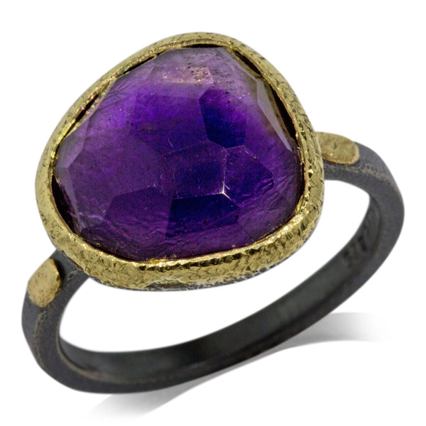 textured pebbles free form amethyst ring