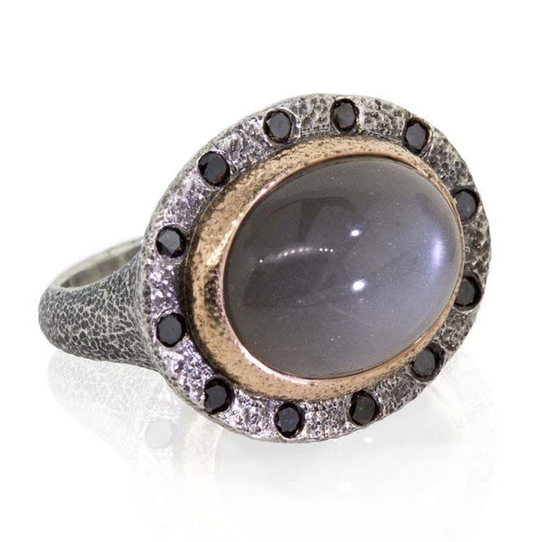 Misty Night Grey Moonstone Ring