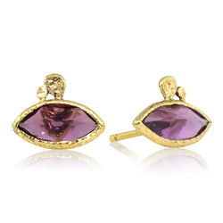 Rhodolite Marquise Pebble Stud Earrings