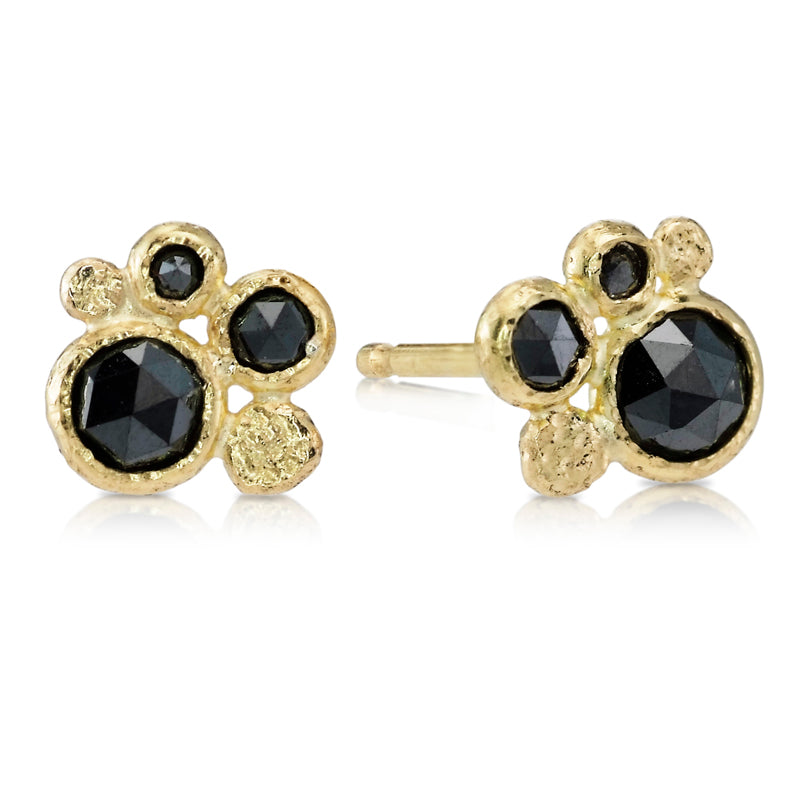 Black Diamonds and Gold Pebbles Stud Earrings