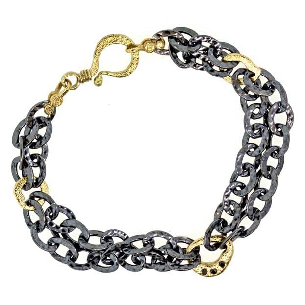 Oxidized Heavy Sterling Double Chain Bracelet with Gold Pebbles Links and Black Diamonds (