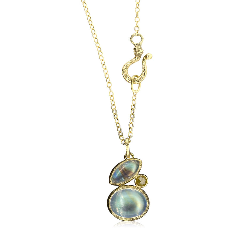 Duo moonstone pendant with rustic yellow rose cut diamond