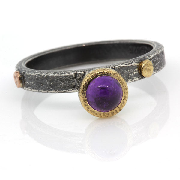 Textured Pebbles Ring with 5mm Amethyst