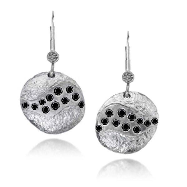Riverbed Earrings with Black Diamonds in Palladium