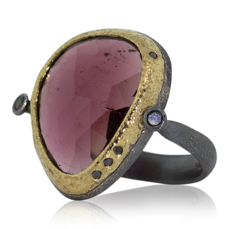 Ancient Pebble Ring with Rose Cut Free-Form Rhodalite