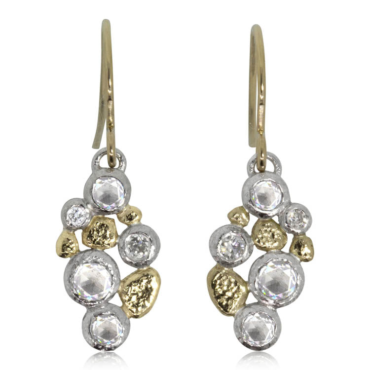Cascading Pebbles Earrigs in Palladium and 18k Gold
