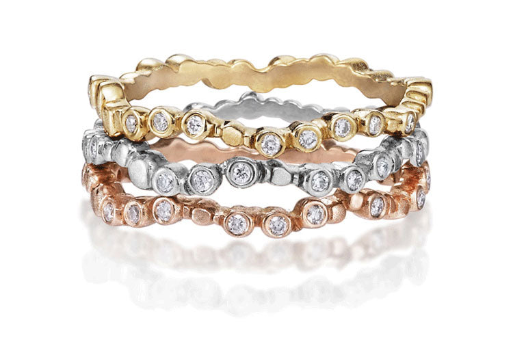 Sparkling Pebbles Stacking Rings