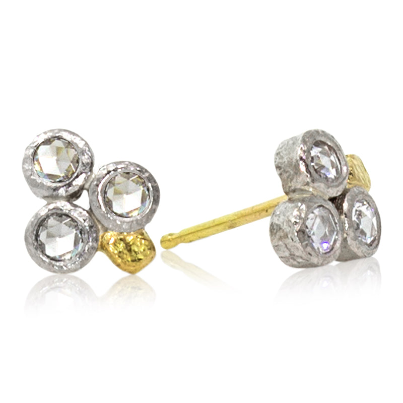 Trio Rose Cut Diamond Stud Earrings