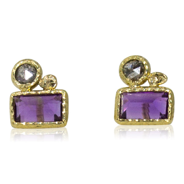 Amethyst and grey diamond stud earrings