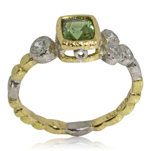 Skinny Pebbles Ring cushion cut green sapphire side