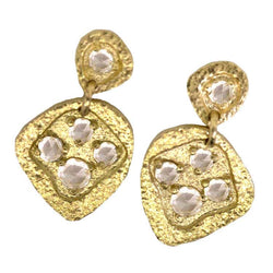 Water Drop Earrings with Rose Cut White Diamonds