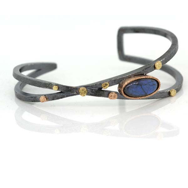 Criss-Cross Cuff Bracelet with Oval Labradorite