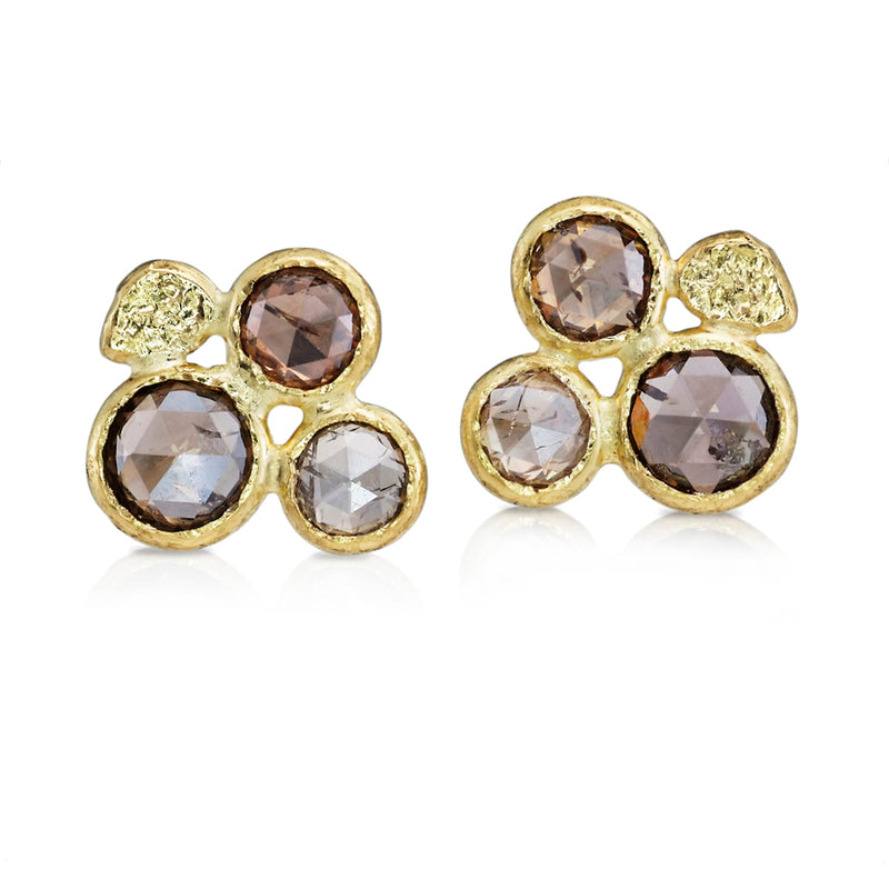 Rose Cut Cognac Diamond Cluster Stud Earrings with 18k Gold Pebbles
