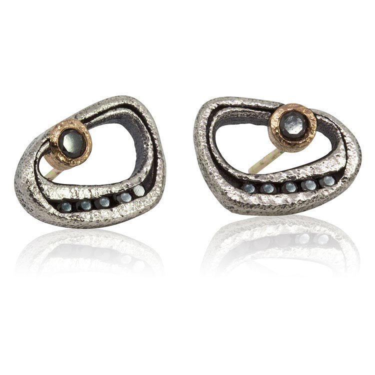 Open Pebble Black Diamond Post Earrings