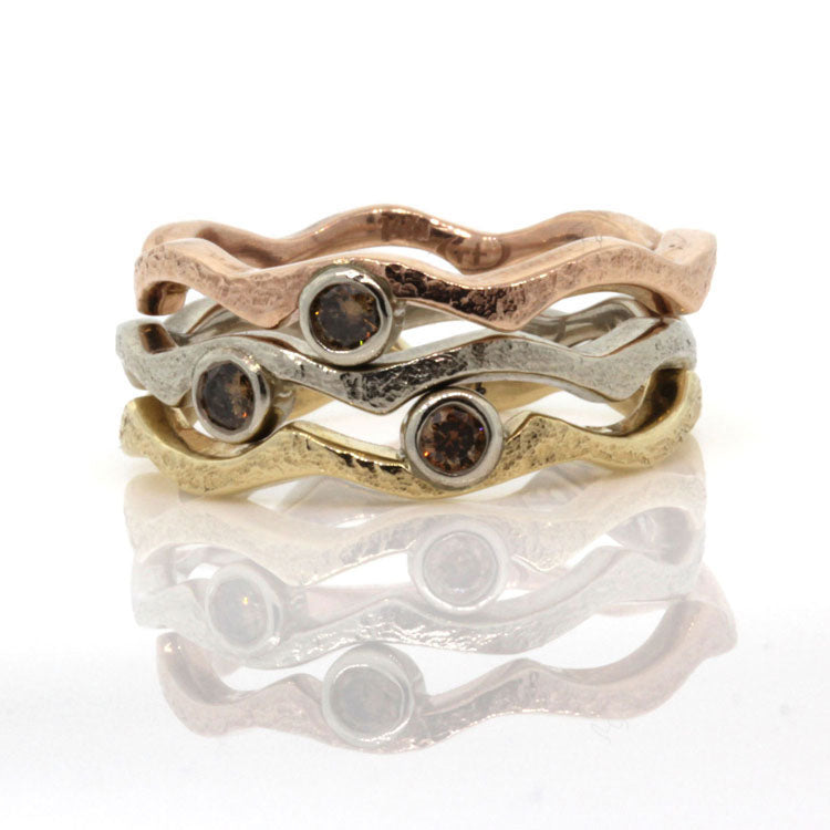 Tri-Color Wavy Stack Ring with Cognac Diamonds
