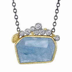 Geometric Aquamarine pendant with Diamonds