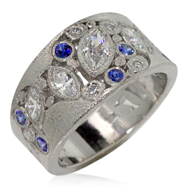 Custom River Pebbles Sapphire and Diamond Ring