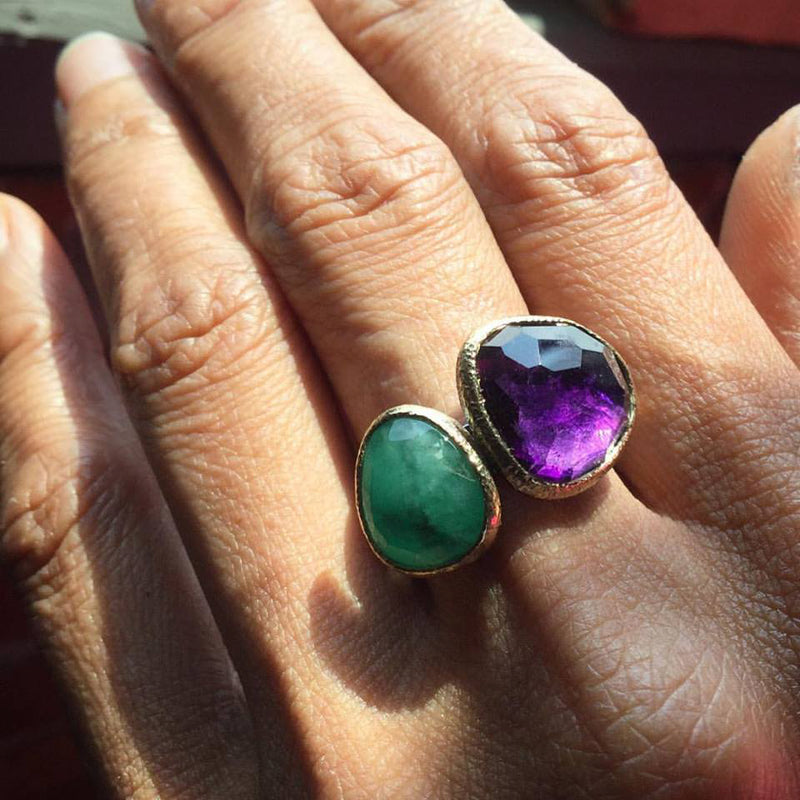 textured pebbles amethyst and emerald stacking rings hand