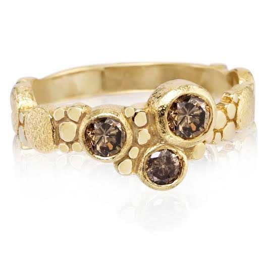 Pebbles at Sunset Ring with 3 Cognac Diamonds