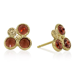 Trio Round Garnet Stud Earrings