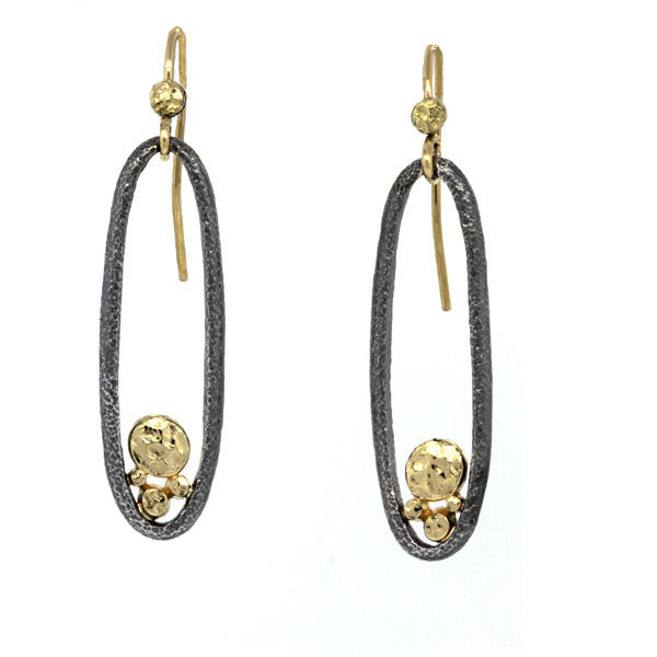 River Pebbles Long Oval Earrings in Hammered Sterling and 18k Gold