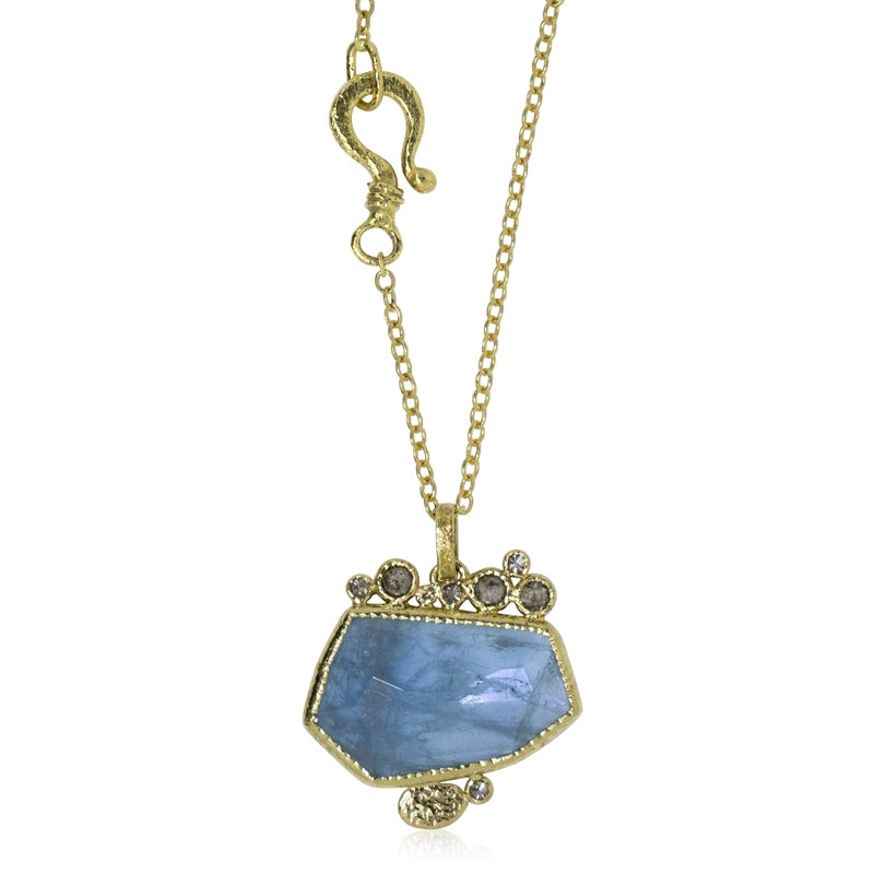 aquamarine pendant with salt and pepper diamonds