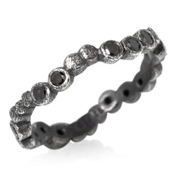 Oxidized silver wavy pebbles band