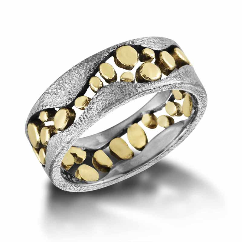 River Pebbles Band gold and palladium