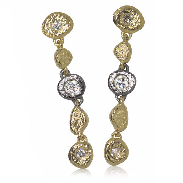 Linked Pebble earrings in 18k gold and palladium with diamonds