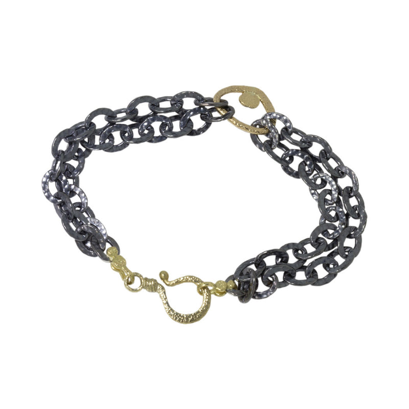 Oxidized Heavy Sterling Double Chain Bracelet with Large Open Pebble
