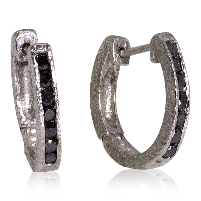 Hinged Hoop Earrings with Channel Set Black Diamonds