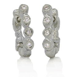 Palladium Little Pebbles Hinged Hoop Earrings with White Diamonds